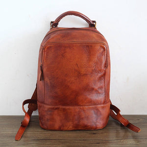 Handmade Retro Wipping Leather Backpack, Unisex Packsack, Knapsack PPM115 - echopurse