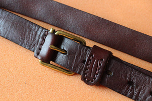 Handmade Suture Vegetable Tanned Leather Belt, Waistband PPM001 - echopurse