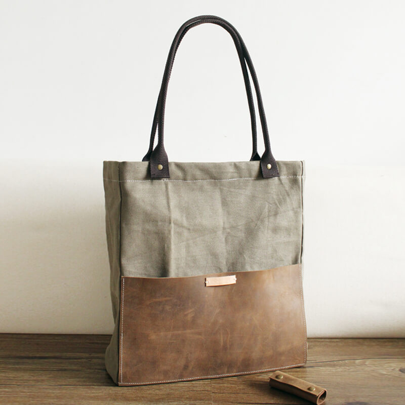 a0f268233 Handmade Waxed Canvas Tote Bag, Women Shopper Totes, School Bag, Green  Daily Big