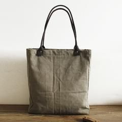 Handmade Waxed Canvas Tote Bag, Women Shopper Totes, School Bag, Green Daily Big Pocket Bag 14051 - echopurse