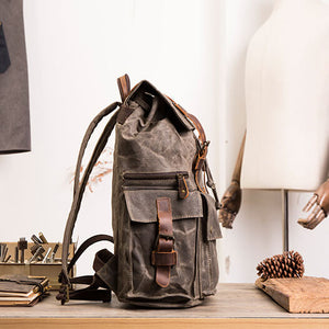"Coffee Laptop Backpack, Canvas Rucksacks, School Bag, Retro Diaper Bag, Backpack For 15.6"" Laptop BM5358 - echopurse"