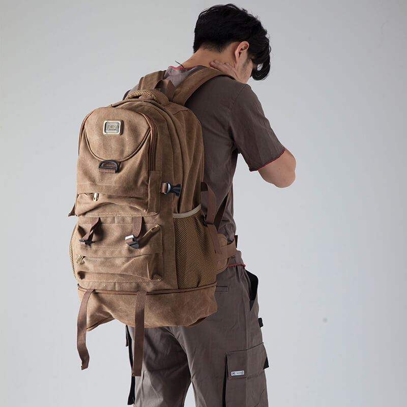 5be2445f8 Brown Large Capacity Backpack, Travel Bag, Sports Knapsack, Canvas ...
