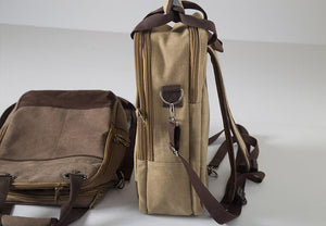 Brown Large Capacity Square Canvas Backpack, Handbag, Crossbody Rucksack, Laptop Travel Bag BDB097 - echopurse