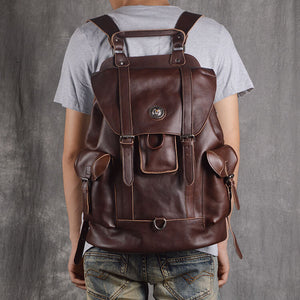 Leather Backpack For Men, Travel Backpack, School Backpack GJ908 - echopurse