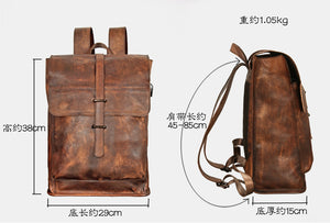 Leather Backpack, Rechargeable Travel Backpack, School Backpack For Men YSZ208 - echopurse