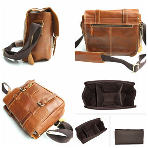 Leather Camera Bag, Crossbody Briefcase Bag For Men, Best DSLR Camera Bag ZO8101 - echopurse