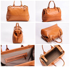 Leather Doctor Bag For Women, Vintage Brown Leather Purse YC9020 - echopurse