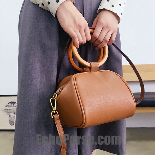 Leather Doctor Bag, Vintage Wooden Handle Handbag For Women, Chic Purse In Brown BG075