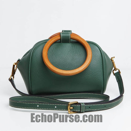 Leather Doctor Bag, Vintage Wooden Handle Handbag For Women, Chic Purse In Green BG075
