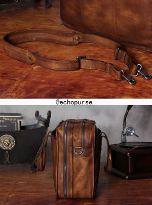 Leather Handbag, Messenger Bag, Vintage Briefcase, Shoulder Bag YS231