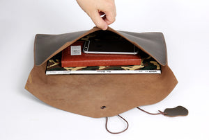 Leather Laptop Bag, iPad Bag, Clutch Bag, Vintage Envelope Handbag 3013 - echopurse
