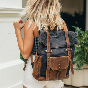 Leather and Canvas Backpack, DSLR Camera Bag, Camera Backpack, School Backpack - echopurse