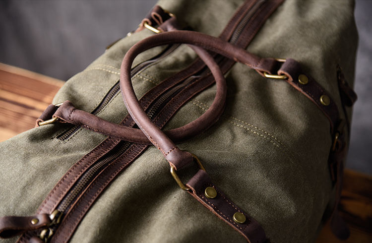 6546c827701d66 Leather and canvas duffel bag, vintage canvas travel bag, gym bag on ...