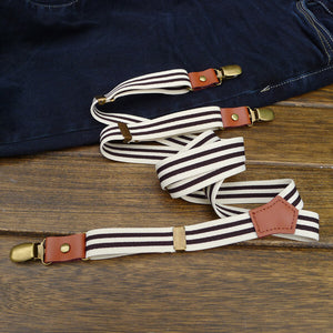 Leisure Style Suspenders, Leather And Canvas Elastic Suspenders CZ03 - echopurse