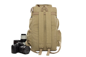 Light Gray Canvas DSLR Camera Backpack, Large Volume Track Camera Pouch DN26S - echopurse