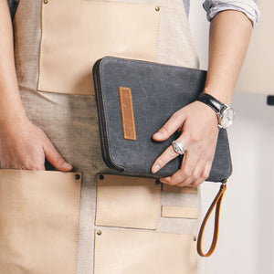 Men's Cash Handbags, Waxed Canvas And Leather Envelope Wallet, Vintage Functional Grasp Clutch NX091