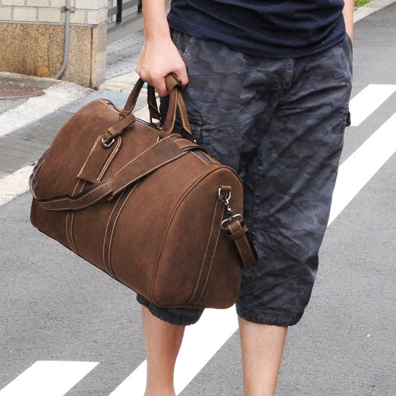 Men`s Leather Duffel Bag, Leather Travel