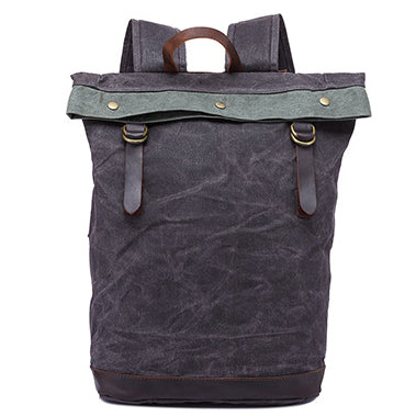 6fa36939266c79 Oil Wax Leather And Canvas Backpack, Grey Vintage Waterproof Travel Backpack  YD325