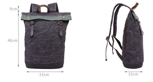 Oil Wax Leather And Canvas Backpack, Grey Vintage Waterproof Travel Backpack YD325 - echopurse