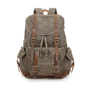 Oil Waxed Canvas Backpack, Vintage Waterproof Sports Backpack, Army Green Travel Backpack YD256 - echopurse
