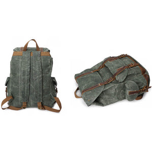 Oil Waxed Canvas Backpack, Vintage Waterproof Sports Backpack, Travel Backpack MT09 - echopurse