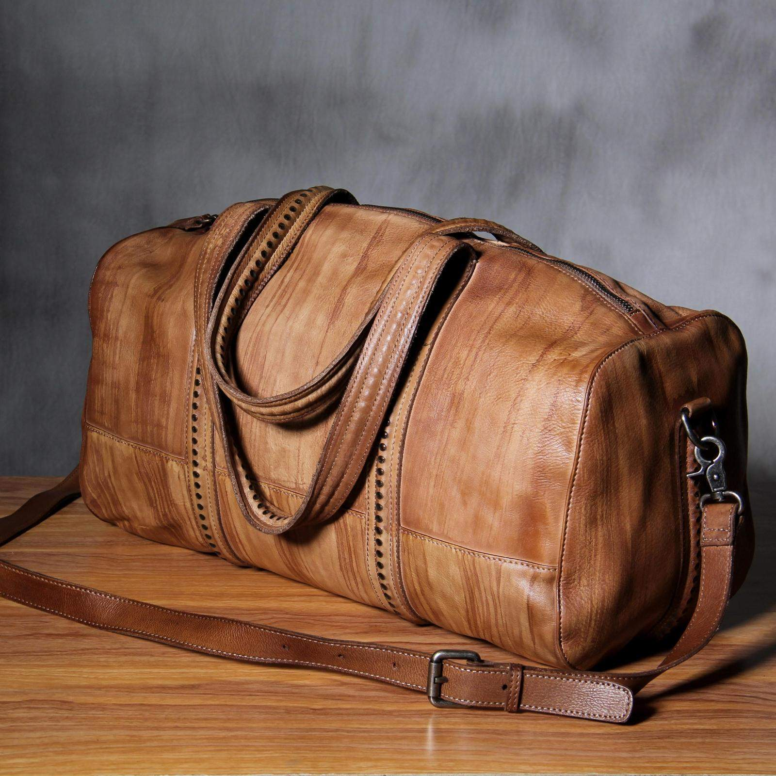 7c269c72a Original Handmade Leather Duffel Bag, Handbags, Travel Bags YS8766 -  EchoPurse