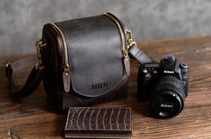 Personalized Rustic Leather Camera Bag, Multipurpose Men's Leather Bag, Professional Photographer Camera Bag, Gift For Man, DSLR Camera Case - echopurse