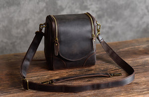 Leather Personalised DSLR Camera Bag, Camera Satchel Bag, Vintage Shoulder Bag For Nikon, Canon, Sony