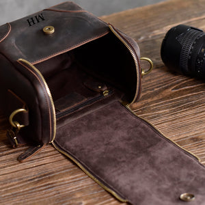 Leather Personalised DSLR Camera Bag, Camera Satchel Bag, Vintage Shoulder Bag For Nikon, Canon, Sony - echopurse