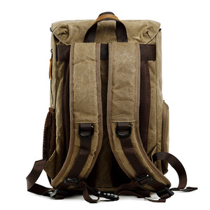 Retro DSLR Camera Backpack Waxed Canvas Camera Backpack Waterproof Laptop Backpack - echopurse