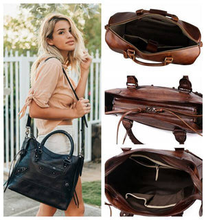 Stylish Camera Messenger Bag, Crossbody Full Grain Leather DSLR Camera Bag