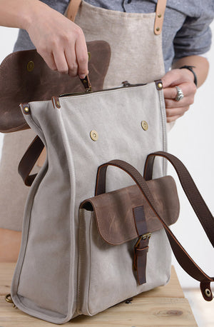 2 Color Available Travel Backpack, Laptop Rucksack, Vintage Shoulder Bag, Handmade Canvas School Bag NX011 - echopurse