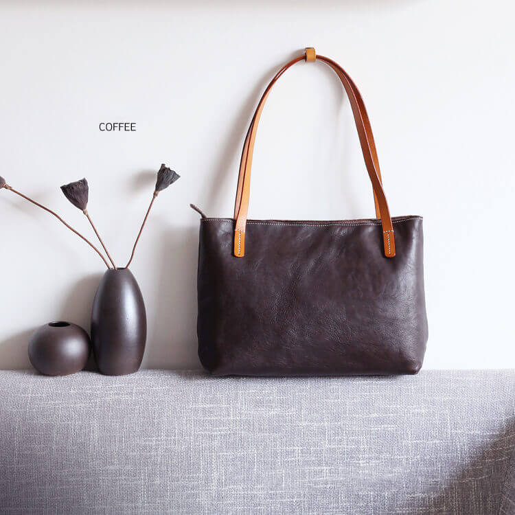 ec1e86d9e49b Vegetable Tanned Leather Tote Bag