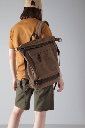 Army Green Vintage Backpack, School Rucksack, Laptop Travel Bag BDB051 - echopurse