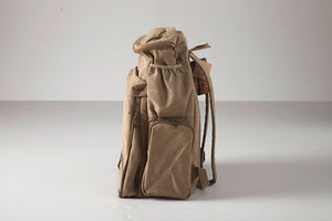 Army Green Vintage Camping Bag, Weekender Backpack, Hiking Travel Bag, Canvas Rucksack BDB794 - echopurse