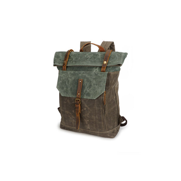 b3e7049fdcf5 Vintage Canvas Backpack For Man, Green And Cyan Waterproof Travel Rucksack  YD191
