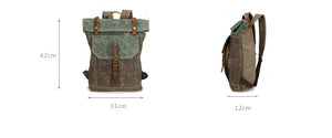 Vintage Canvas Backpack For Man, Green And Cyan Waterproof Travel Rucksack YD191 - echopurse