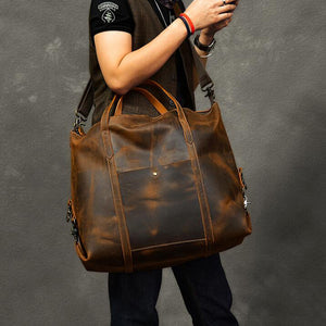 Vintage Men Travel Bags Crazy Horse Leather Men Short Trip Duffle Bag Overnight Bag - echopurse