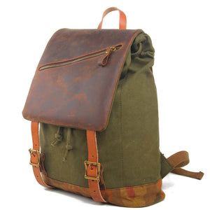 Vintage Rucksack Bag, Canvas And Leather Gray School Backpack 1978 - echopurse