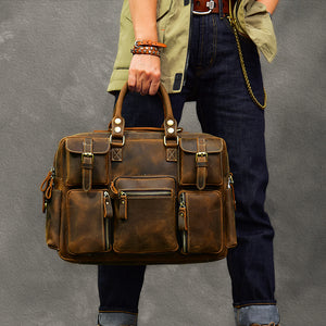 Vintage Tote Travel Bags Crazy Horse Leather Overnight Bag Men Shoulder Messenger Bag - echopurse