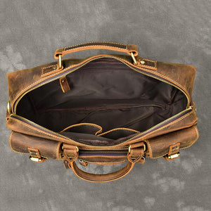 Vintage Tote Travel Bags Crazy Horse Leather Overnight Bag Men Shoulder Messenger Bag