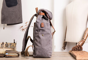 Black Vintage Travel Backpack, USB School Rucksack, Laptop Bag BM071 - echopurse