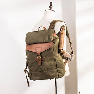Army Green Vintage Travel Backpack, USB School Rucksack, Laptop Bag BM071 - echopurse