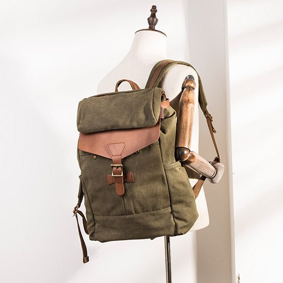 4cf51a9213f5 Army Green Vintage Travel Backpack