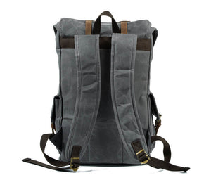 Vintage Waterproof Backpack, Black Oil Wax Canvas Shoulder Bag, Rucksack CF55 - echopurse