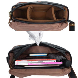 Waterproof Canvas Camera Bag Canvas DSLR Camera Shoulder Bag Vintage Messenger Bag - echopurse