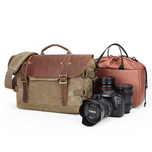 Waterproof Canvas Camera Bag Waxed Canvas DSLR Camera Shoulder Messenger Bag Retro Satchel - echopurse