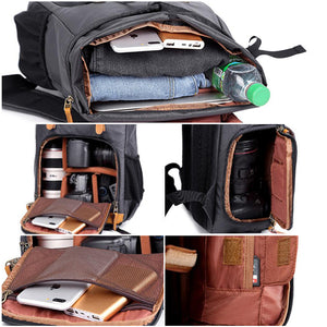 Waterproof Canvas DSLR Camera Backpack Canvas Camera Backpack Men Travel Backpack - echopurse