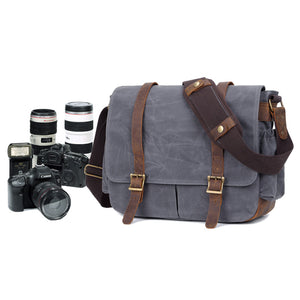 Waterproof Canvas DSLR Camera Bag Waxed Canvas Shoulder Bag Retro Messenger Bag - echopurse
