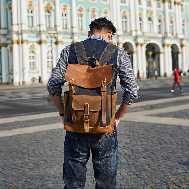 Waxed Canvas Backpack, Travel Backpack, Vintage